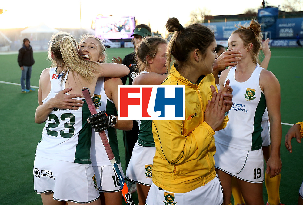 JOHANNESBURG, SOUTH AFRICA - JULY 16:  South Africa players celebrate victory during day 5 of the FIH Hockey World League Women's Semi Finals Pool B match between South Africa and United States of America at Wits University on July 16, 2017 in Johannesburg, South Africa.  (Photo by Jan Kruger/Getty Images for FIH)