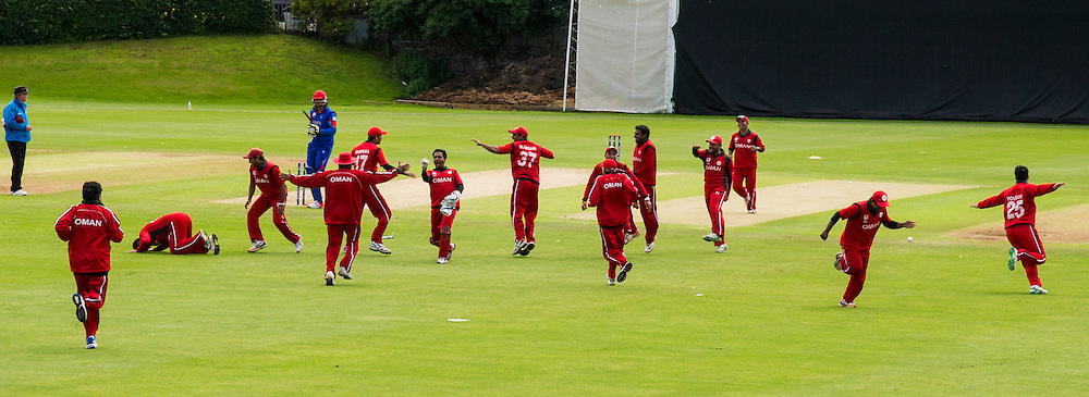The T20 qualifiers in Scotland headed to Goldenacre in Edinburgh for the match between Afghanistan and Oman. Oman team and coaches go wild after unexpectedly beating Afghanistan<br /> <br /> Ger Harley SportPix.org.uk 15 July 2015