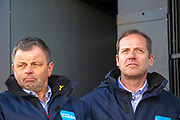 Christian Prudhomme & Peter Dodd on stage during the second stage of the Tour de Yorkshire from Barnsley to Bedale, Barnsley, United Kingdom on 3 May 2019.