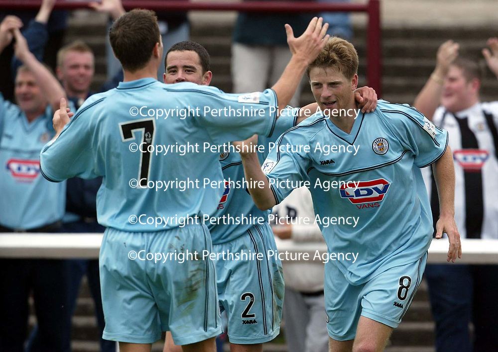 Arbroath v St Mirren..  14.09.02<br />Ricky Gillies celebrates his goal<br /><br />Pic by Graeme Hart<br />Copyright Perthshire Picture Agency<br />Tel: 01738 623350 / 07990 594431