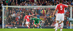 LONDON, ENGLAND - Friday, May 22, 2009: Liverpool's goalkeeper Dean Bouzanis cannot prevent Arsenal's Jack Wilshere scoring the second goal from the penalty spot during the FA Youth Cup Final 1st Leg match at the Emirates Stadium. (Photo by David Rawcliffe/Propaganda)