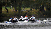 Cambridge, USA, Lightweight men's Fours, LW4-, Don Rowing Club CAN., move down the course approacing the cambridge BC and Elliott Bridge, during the  2009 Head of the Charles  Sunday  18/10/2009  [Mandatory Credit Peter Spurrier Intersport Images],.