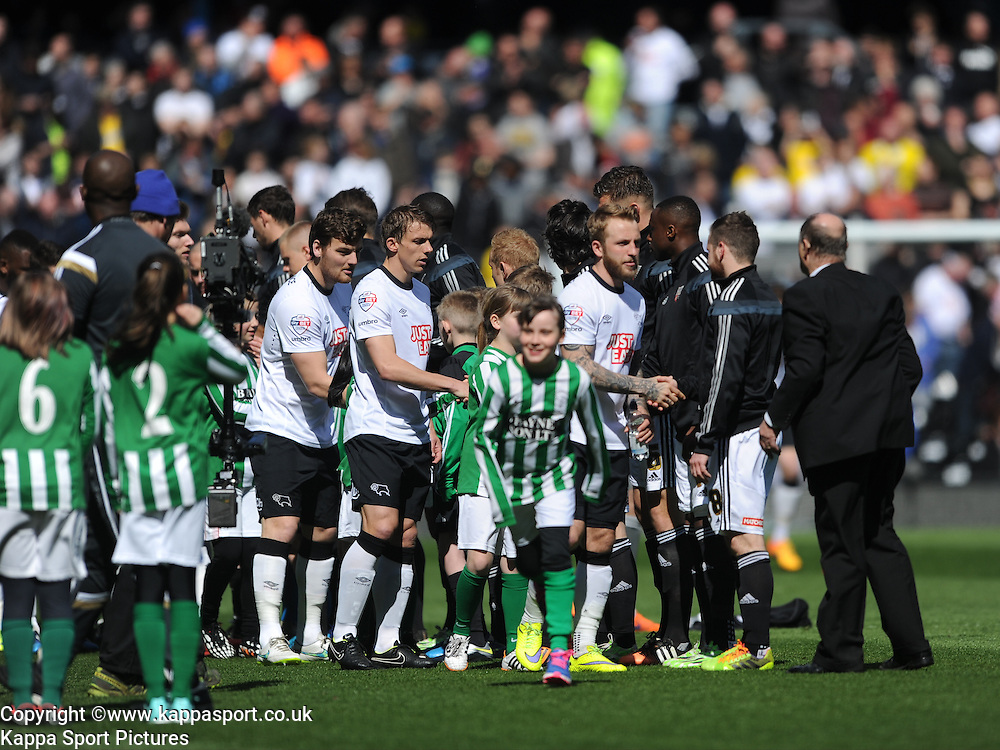 Derby Team and Mascots meet Brentford Team before Kck off, Derby County v Brentford, Sy Bet Championship, IPro Stadium, Saturday 11th April 2015. Score 1-1,  (Bent 92) (Pritchard 28)<br /> Att 30,050