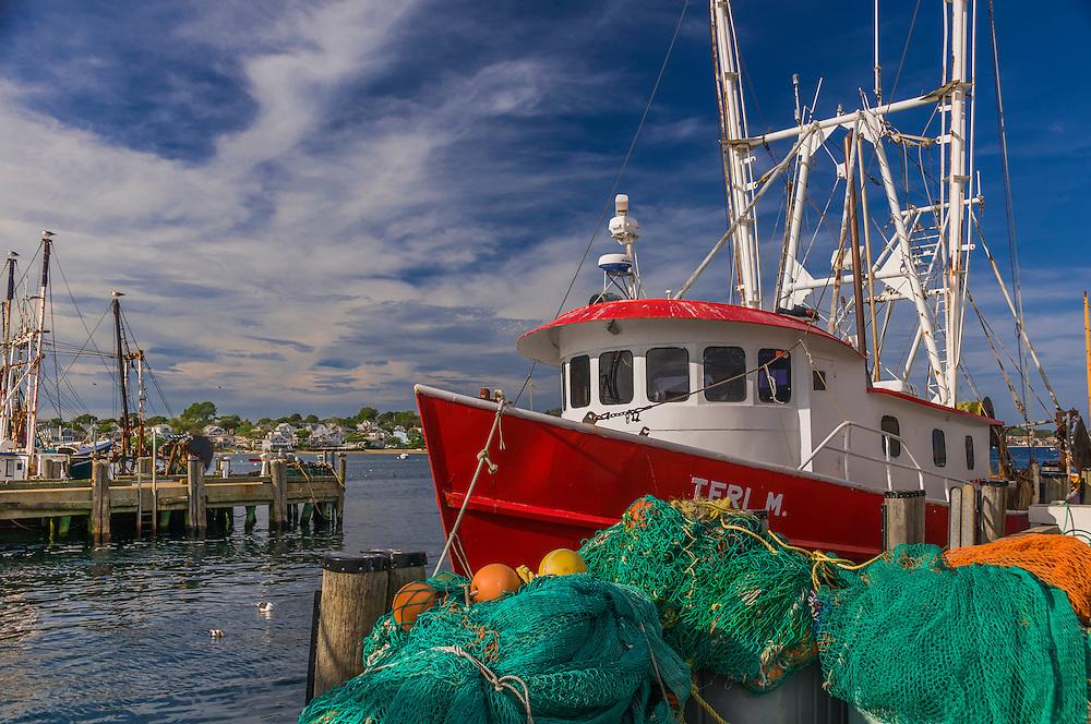 Fishing trawler docked, nets & fishing gear, Provincetown Harbor, Cape Cod, MA