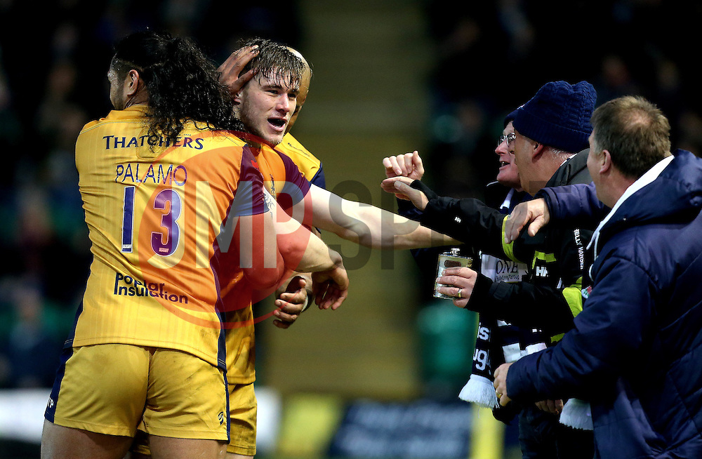 Jason Woodward of Bristol Rugby celebrates with fans after scoring a try - Mandatory by-line: Robbie Stephenson/JMP - 07/01/2017 - RUGBY - Franklin's Gardens - Northampton, England - Northampton Saints v Bristol Rugby - Aviva Premiership