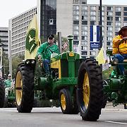 John Deere tractors in the American Royal Parade.