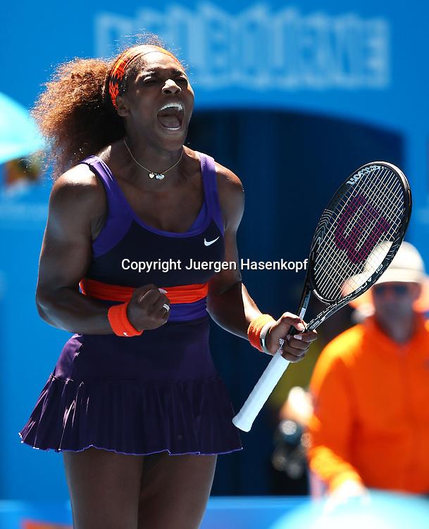 Australian Open 2013, Melbourne Park,ITF Grand Slam Tennis Tournament,.Serena Williams (USA) schreit und feuert sich an,Jubel,Emotion,.Aktion,Einzelbild,Halbkoerper,Hochformat,