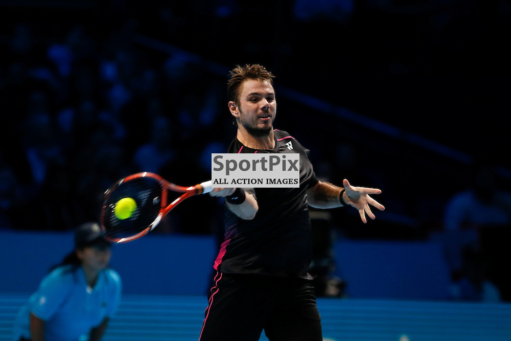 Stan Wawrinka during a match between Stan Wawrinka and David Ferrer at the ATP World Tour Finals 2015 at the O2 Arena, London.  on November 18, 2015 in London, England. (Credit: SAM TODD | SportPix.org.uk)