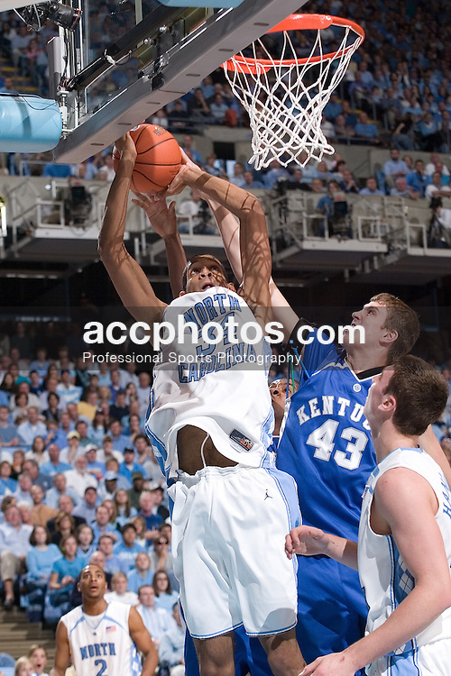 02 December 2006: North Carolina forward (34) Brandan Wright during a 75-63 North Carolina Tar Heels victory over the Kentucky Wildcats at the Dean Smith Center in Chapel Hill, NC.<br />