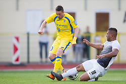 Agim Ibraimi of NK Domzale and Hermes Aristotelles Romero Espinoza of NK Ankaran Hrvatini during football match between NK Domzale and NK Ankaran Hrvatini in Round #30 of Prva liga Telekom Slovenije 2017/18, on May 2nd, 2018 in Sports Park Domzale, Domzale, Slovenia. Photo by Urban Urbanc / Sportida