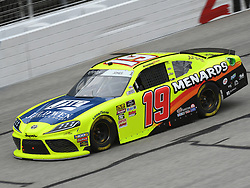 February 23, 2019 - Hampton, GA, U.S. - HAMPTON, GA - FEBRUARY 23: Brandon Jones, Joe Gibbs Racing, Toyota Supra Toyota Menards/Jeld-Wen (19) races through the corner during the Xfinity Series Rinnai 250 on February 23, 2019, at Atlanta Motor Speedway in Hampton, GA.(Photo by Jeffrey Vest/Icon Sportswire) (Credit Image: © Jeffrey Vest/Icon SMI via ZUMA Press)