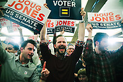 BIRMINGHAM, AL – DECEMBER 12, 2017: Doug Jones supporters celebrate victory as their candidate is confirmed as the winner of the Senate special election. CREDIT: Bob Miller for The New York Times