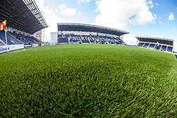 The three stands at The Falkirk Stadium, with the new pitch work for the Scottish Championship game v Morton. The woven GreenFields MX synthetic turf and the surface has been specifically designed for football with 50mm tufts compared with the longer 65mm which has been used for mixed football and rugby uses.  It is fully FFA two star compliant and conforms to rules laid out by the SPL and SFL.<br /> &copy;Michael Schofield.