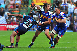 Cape Town-180317 Johannes Engelbrecht of the DHL Stomers tackled by George Moala  of Blues in the Super Rugby tournament  at Newlands rugby stadium.Photograph:Phando Jikelo/African News Agency/ANA