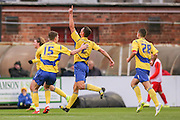 Accrington Stanley defender Matty Pearson goal during the Sky Bet League 2 match between York City and Accrington Stanley at Bootham Crescent, York, England on 28 November 2015. Photo by Simon Davies.