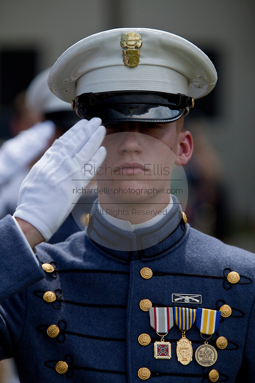 Senior cadets in formal dress uniform during the Long Grey Line graduation parade May 8, 2009 at the Citadel in Charleston, SC. This graduating marks the 10-year anniversary of the first female to graduate from The Citadel, Nancy Mace.  The Citadel was founded in 1842.
