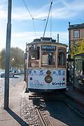 Historic tram line 1 Passeio Alegre / Infante on Rua Nova da Alfandega, Porto, Portugal