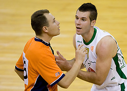 Referee Borys Ryzhyk (UKR) ? and Sani Becirovic (7) of Olimpija at Euroleague basketball match of Group C between KK Union Olimpija, Ljubljana and Maroussi B.C., Athens, on October 29, 2009, in Arena Tivoli, Ljubljana, Slovenia. Olimpija lost 75:81.  (Photo by Vid Ponikvar / Sportida)