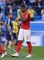 FUSSBALL  WM 2018  Achtelfinale  03.07.2018 Schweden - Schweiz Enttaeuschung Schweiz; Manuel Akanji