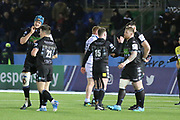 Glasgow Warriors players shake hands as they celebrate winning  the Heineken Champions Cup match between Glasgow Warriors and Cardiff Blues at Scotstoun Stadium, Glasgow, Scotland on 13 January 2019.