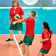 Katowice, Poland - 2017 September 02: Partner Svietlana Antsiushenia from SO Belarus passes the ball while SO Germany versus SO Belarus during European Unified Volleyball Tournament 2017 at Spodek Hall on September 02, 2017 in Katowice, Poland.<br /> <br /> Adam Nurkiewicz declares that he has no rights to the image of people at the photographs of his authorship.<br /> <br /> Picture also available in RAW (NEF) or TIFF format on special request.<br /> <br /> Any editorial, commercial or promotional use requires written permission from the author of image.<br /> <br /> Image can be used in the press when the method of use and the signature does not hurt people on the picture.<br /> <br /> Mandatory credit:<br /> Photo by © Adam Nurkiewicz / Mediasport