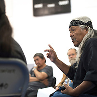 050215      Cayla Nimmo<br /> <br /> Ed Becenti talks about the issues he wants addressed with the Diné Constitution at the preliminary meeting held in White Corn Saturday.