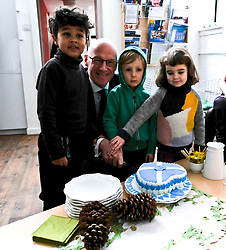 Pictured: Mr Swinney gets help to cut a cake of welcome from Yasin Said (five) Iver Blakey (four) and Clemence Currie (aged four)<br /> Deputy First Minister John Swinney visited Cowgate Nursery in Edinburgh to meet children, staff and modern apprentices working in early years and childcare. Mr Swinney confirmed that a record number of early years apprenticeships are expected to start this year as part of the expansion of free nursery and childcare.  Mr Swinney toured the nursery and discussed the City of Edinburgh Council&rsquo;s plans to expand the early years and childcare workforce and met with modern apprentices as well as Jake Stefanovic, an ambassador from the Scottish Government&rsquo;s childcare recruitment campaign.<br /> <br /> <br /> Ger Harley | EEm 13 February 2018