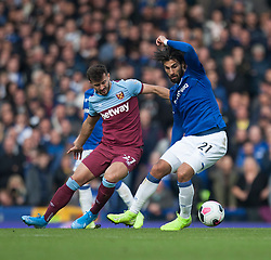 Andre Gomes of Everton (R) in action - Mandatory by-line: Jack Phillips/JMP - 19/10/2019 - FOOTBALL - Goodison Park - Liverpool, England - Everton v West Ham United - English Premier League