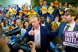 © Licensed to London News Pictures. 24/04/2017. London, UK. Liberal Democrat leader Tim Farron and Lib Dem candidate for Vauxhall George Turner pose at an election campaign event in Vauxhall, London on 24 April 2017. Photo credit: Tolga Akmen/LNP