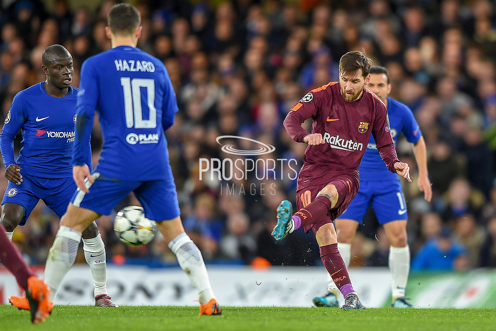Barcelona forward Lionel Messi  (10) has a shot during the Champions League match between Chelsea and Barcelona at Stamford Bridge, London, England on 20 February 2018. Picture by Martin Cole.