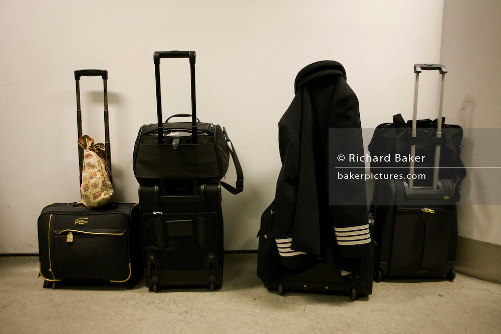 Flight deck and cabin crews' baggage in the British Airways Crew Report Centre at Heathrow Airport's Terminal 5