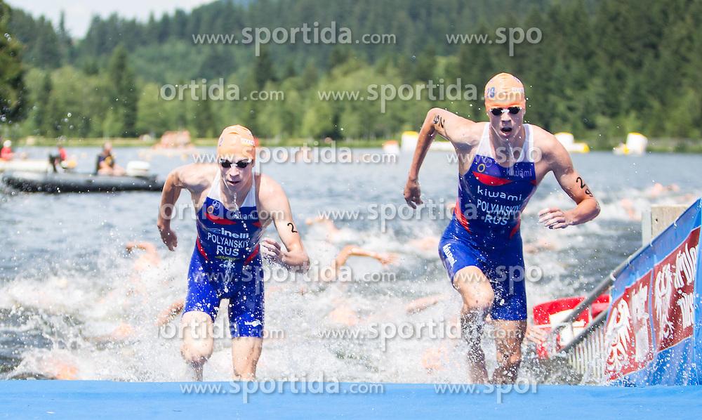 24.06.2012, Schwarzsee, Kitzbuehel, AUT, ITU World Championship, Dextro Energy Triathlon Kitzbuehel, Elite Herren, im Bild Dmitry Polyanskiy (RUS) und Igor Polyanskiy (RUS) // Dmitry Polyanskiy (RUS) and Igor Polyanskiy (RUS)  during Elite Men of ITU World Championship Dextro Energy Triathlon Kitzbuehel, Austria on 2012/06/24. EXPA Pictures © 2012, PhotoCredit: EXPA/ Juergen Feichter