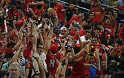 Manchester United fans enjoying the atmosphere during an International Champions Cup game won by Manchester United 1-0, Saturday, July 20, 2019, in Singapore. (Kim Teo/Image of Sport)
