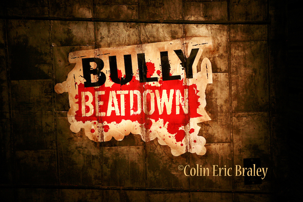 Set Logos. Still photography of Mark Burnett Productions February 2009 filming of the Mixed Martial Arts reality fight show, Bully Beat Down, with MMA fighter and host, Jason Mayhem Miller. The show airs on MTV. Photos by Colin Braley/Mark Burnett Productions
