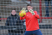 York City goalkeeper Scott Flinders during the Sky Bet League 2 match between York City and Plymouth Argyle at Bootham Crescent, York, England on 14 November 2015. Photo by Simon Davies.