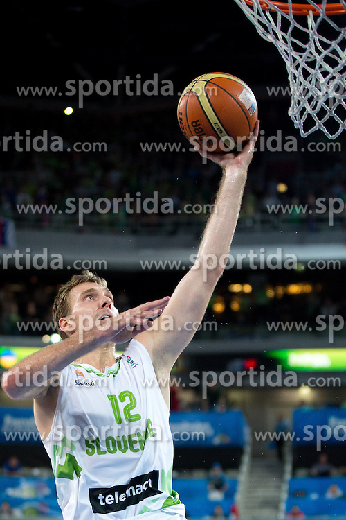 Zoran Dragic #12 of Slovenia during basketball match between national team of Slovenia and Ukraine in 5th Place game at Day 18 of Eurobasket 2013 on September 21, 2013 in SRC Stozice, Ljubljana, Slovenia. (Photo By Matic Klansek Velej / Sportida.com)