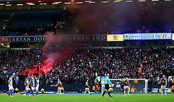 Burnley fans let off a flare after the opening goal - Mandatory by-line: Matt McNulty/JMP - 23/08/2017 - FOOTBALL - Ewood Park - Blackburn, England - Blackburn Rovers v Burnley - Carabao Cup - Second Round