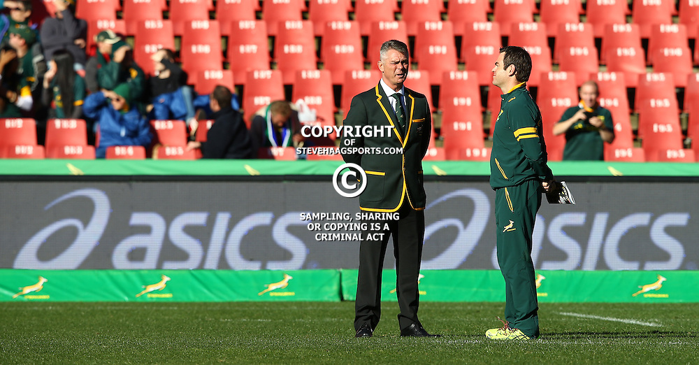 JOHANNESBURG, SOUTH AFRICA - JULY 25: Heyneke Meyer (Head Coach) of South Africa with Johann van Graan (Forwards Coach) of South Africa during The Castle Lager Rugby Championship 2015 match between South Africa and New Zealand at Emirates Airline Park on July 25, 2015 in Johannesburg, South Africa. (Photo by Steve Haag/Gallo Images)