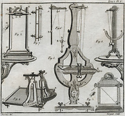 Studies of Inertia. 1: Newton's percussion pendulum.  2: Nollet's percussion hammer and falling frame. 5: Mariotte's percussion pendulum. Engraving 1775.