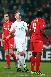 18.02.2016, WWKArena, Augsburg, GER, UEFA EL, FC Augsburg vs FC Liverpool, Sechzehntelfinale, Hinspiel, im Bild Dominik Kohr ( FC Augsburg ) aergert sich, // during the UEFA Europa League Round of 32, 1st Leg match between FC Augsburg and FC Liverpool at the WWKArena in Augsburg, Germany on 2016/02/18. EXPA Pictures © 2016, PhotoCredit: EXPA/ Eibner-Pressefoto/ Langer<br /> <br /> *****ATTENTION - OUT of GER*****