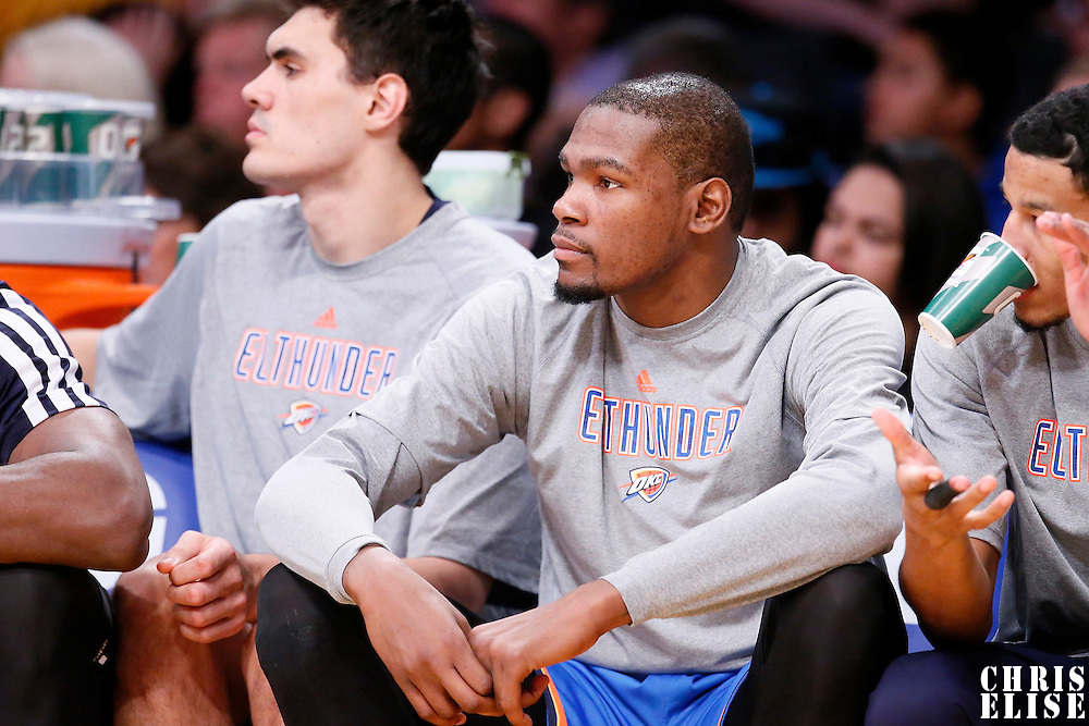 09 March 2014: Oklahoma City Thunder small forward Kevin Durant (35) is seen on the bench during the Los Angeles Lakers 114-110 victory over the Oklahoma City Thunder at the Staples Center, Los Angeles, California, USA.