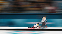 China during the Women's Round Robin Session 1 match against Olympic Athletes from Russia at the Gangneung Curling Centre during day five of the PyeongChang 2018 Winter Olympic Games in South Korea.