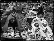 Chess players at Bryant Park, New York City.