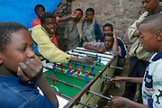 LALIBELA, WELO/ETHIOPIA..Kids playing table soccer at the village of Lalibela..(Photo by Heimo Aga)