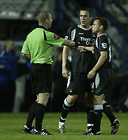 Photo: Aidan Ellis.<br /> Chesterfield United v Manchester City. Carling Cup. 20/09/2006.<br /> City's Richard Dunne and Paul Dickov argue with the referee