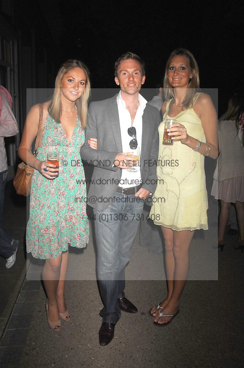 Left to right, KRISSIE DUCKER, RORY STIRLING and EMMA BLACKMORE at a Summer BBQ for Kitts nightclub hosted by Chalie Gilkes and Duncan Stirling at the Hurlingham Club, London on 31st August 2007.<br />