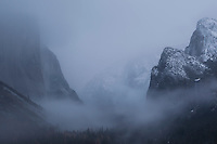 Tunnel View in December Snowstorm, Yosemite National Park, California