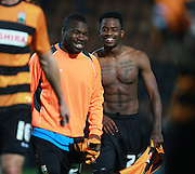 Barnet striker Josh Clarke is all smiles with Aaron McLean at the final whistle after his two goals during the Sky Bet League 2 match between Barnet and Exeter City at The Hive Stadium, London, England on 31 October 2015. Photo by Bennett Dean.
