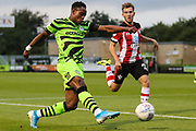 Forest Green Rovers Udoka Godwin-Malife(22) crosses the ball  during the EFL Trophy match between Forest Green Rovers and U21 Southampton at the New Lawn, Forest Green, United Kingdom on 3 September 2019.