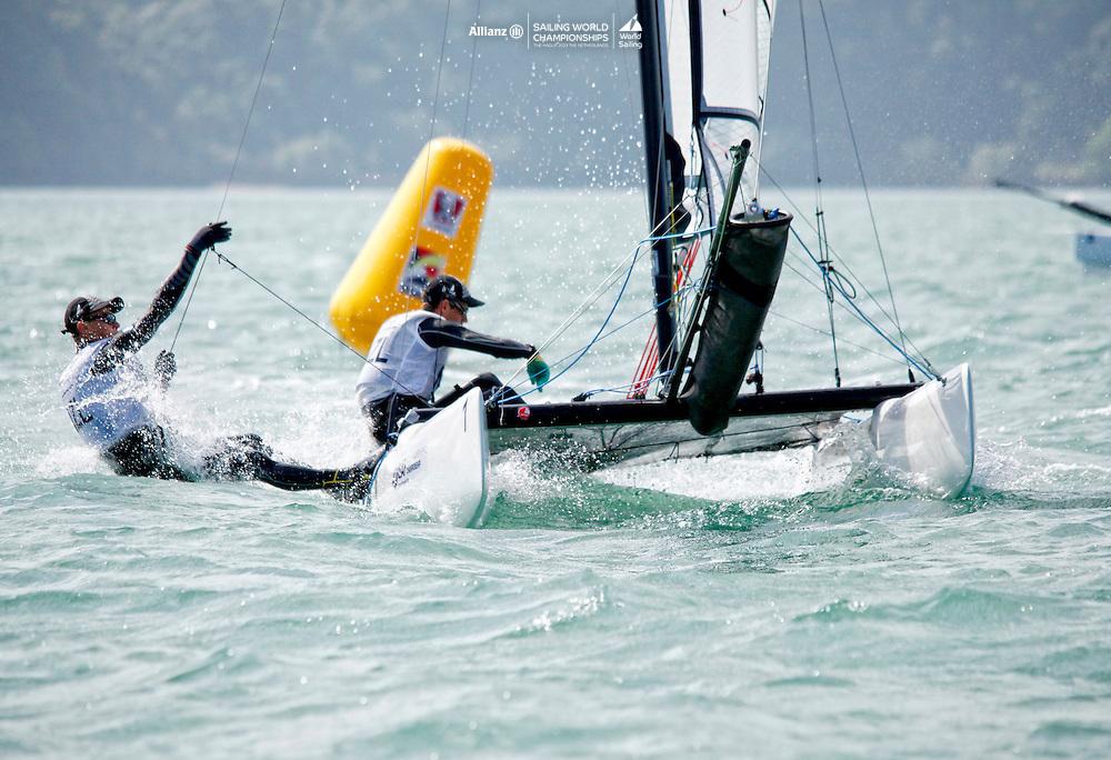 New ZealandSirena SL16OpenCrewNZLWM4WilliamMckenzie<br />New ZealandSirena SL16OpenHelmNZLTL4TamrynLindsay<br />Day4, 2015 Youth Sailing World Championships,<br />Langkawi, Malaysia